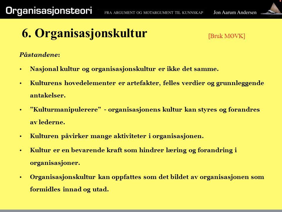6. Organisasjonskultur [Bruk MØVK] Påstandene: